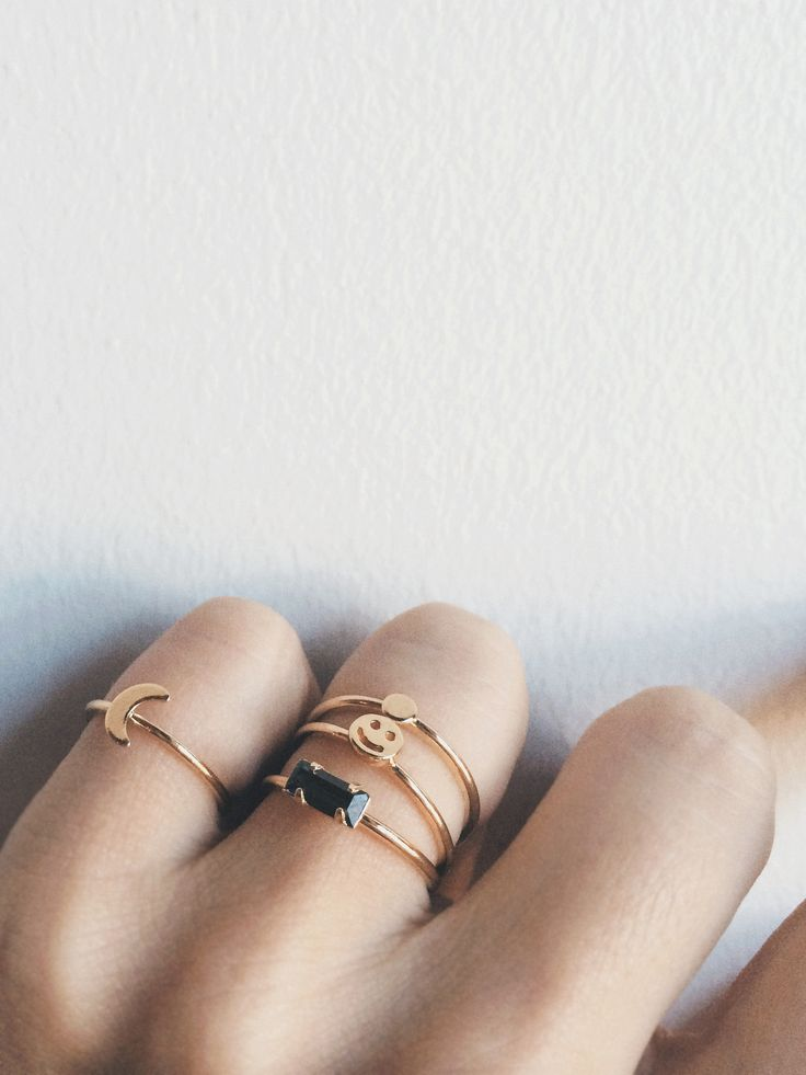 Stack your delicate gold Bing Bang rings together, and don't forget the pinky!