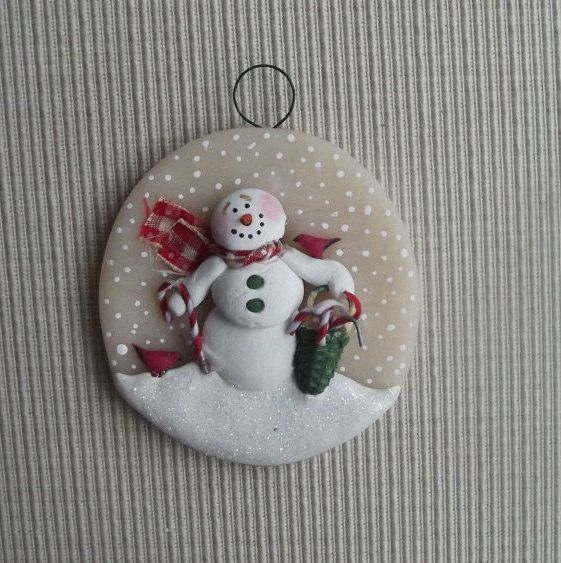 "Candy Cane ~ 3"" round hand sculpted polymer clay snowman ornament by JessiesCornerClay on Etsy"