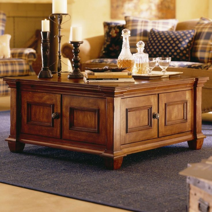 Square Wooden Coffee Table with Storage | Square wooden ...