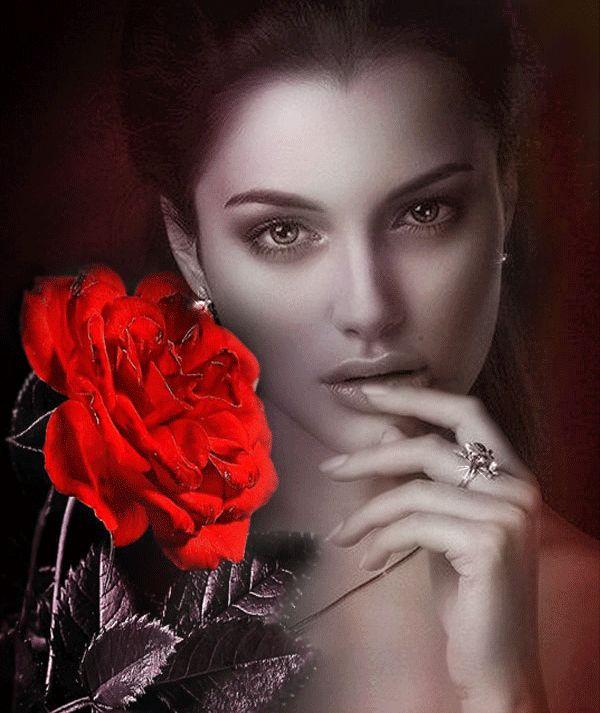 Animazione ragazza che tiene la mano delle labbra sullo sfondo di una rosa rossa, SIFCO ragazza tiene la mano delle sue labbra, sullo sfondo di una rosa rossa