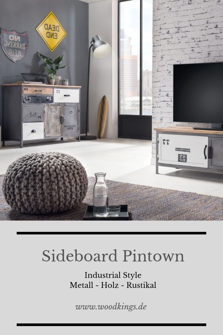 Esszimmer Mobel Idee Sideboard Kommode Grau Metall Holz