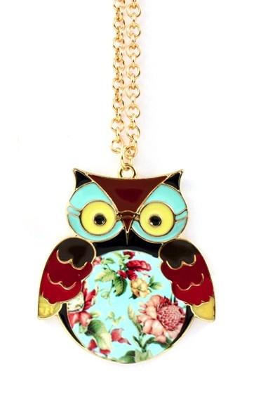 Floral owl pendant