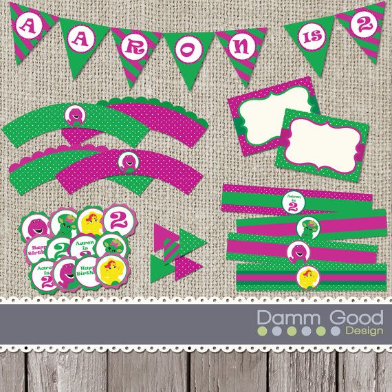 Welcome to Damm Good Design, Im so glad youre here! • This listing is for Barney Party Supplies ♥ ♥ ♥ ♥ WE OFFER A BARNEY INVITE, IN OUR SHOP,