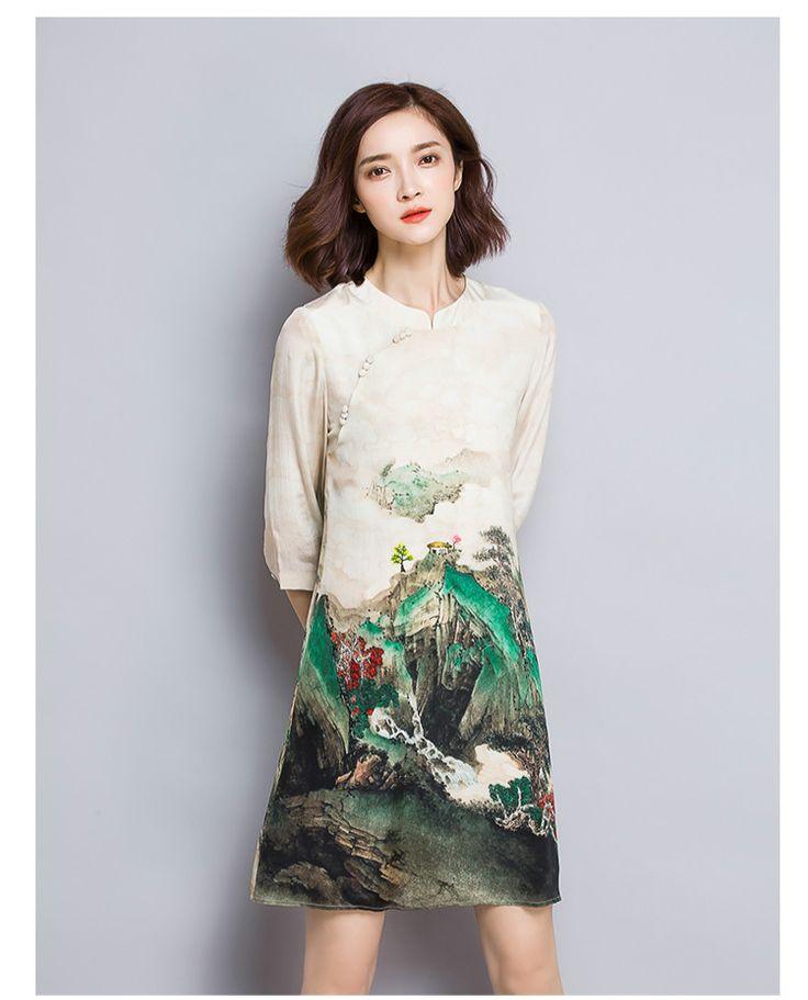 Ftlzz 2017 nowy lato retro atramentu krajobraz drukarnie silk dress chiński styl cienki druk plus rozmiar 3xl dress kobieta w Ftlzz 2017 nowy lato retro atramentu krajobraz drukarnie silk dress chiński styl cienki druk plus rozmiar 3xl dress kobieta od Dresses na Aliexpress.com   Grupa Alibaba
