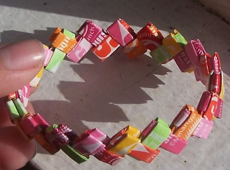 """Bracelet with starburst wrappers....great """"girl"""" craft time!"""