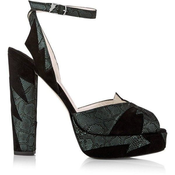 Terry De Havilland Zia High Heels- Black/Teal ($455) ❤ liked on Polyvore featuring shoes, black, terry de havilland, black shoes, black high heel shoes, high heel shoes and high heeled footwear