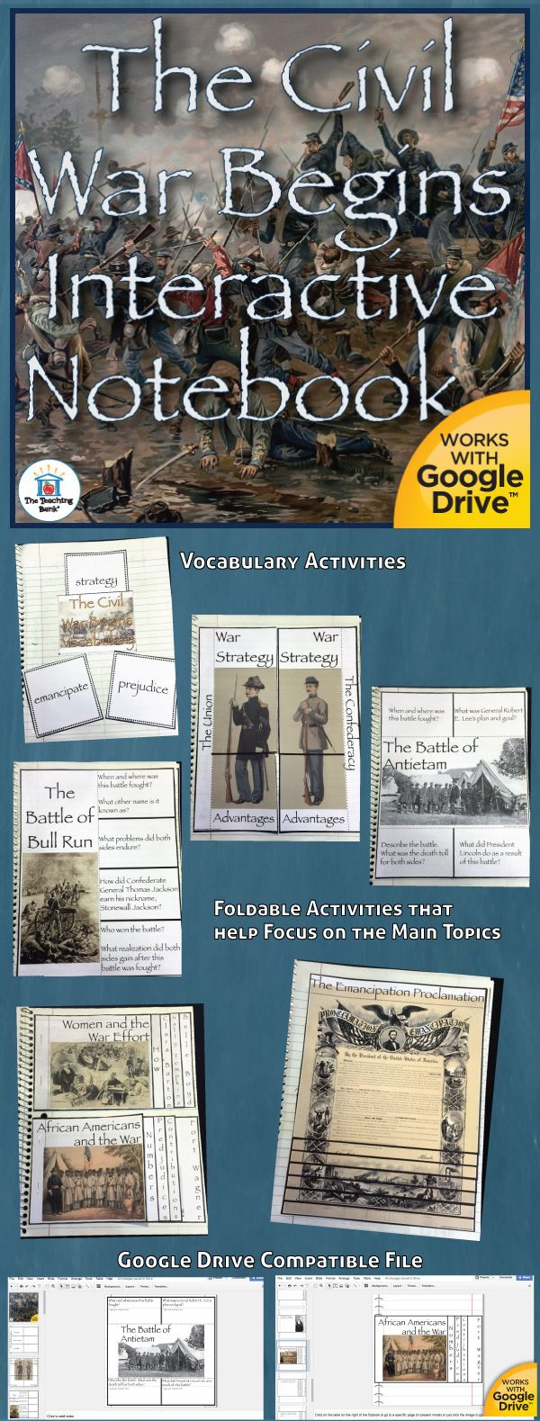 The Civil War Begins Interactive Notebook, which works for both print and Google Drive™, investigates and helps gain understanding of major battles, events, and important contributions during the Civil War. Geared as a unit in the 5th grade study of United States History.