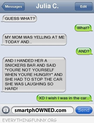 funny text message handed angry mom snickers