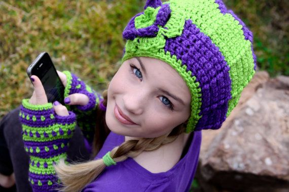 Tween Hats Lime Green and Purple Slouchy Hat with por foreverandrea