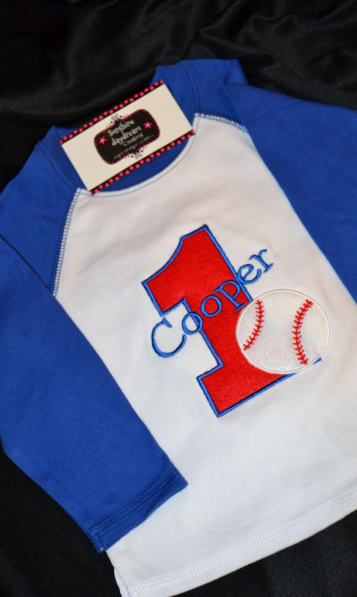 1st birthday shirt baseball shirt number 1 and name for Custom raglan baseball shirt