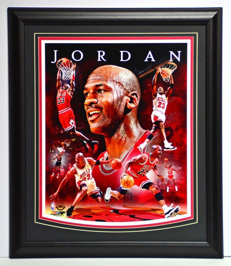 MICHAEL JORDAN BULLS CHAMPIONSHIP 20x24 FRAMED COLLAGE 16X20 CHICAGO NBA FINALS