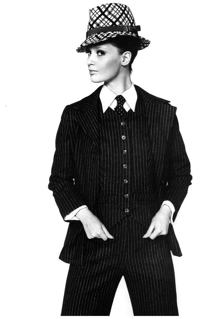Celia Hammond models a pinstripe suit by Yves Saint Laurent. Photo by John Carter, 1967.