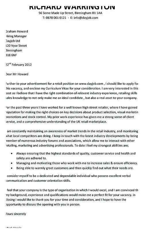 retail cover letter example , Resume Cover Letter Templates to