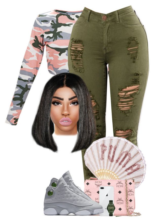 """She Moving"" by chiamaka-ikaraoha ❤ liked on Polyvore featuring Puma, Lime Crime, MCM, NIKE and MICHAEL Michael Kors"