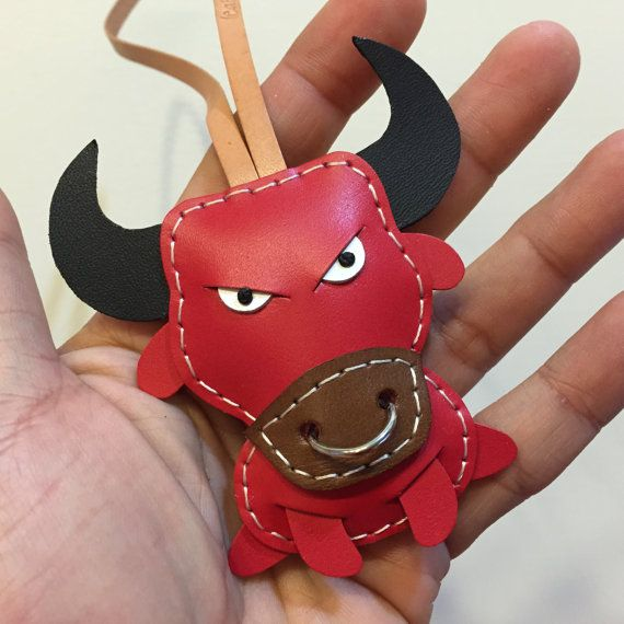 Ready Stock - Small size - Paul the Bull cowhide leather charm ( Red )