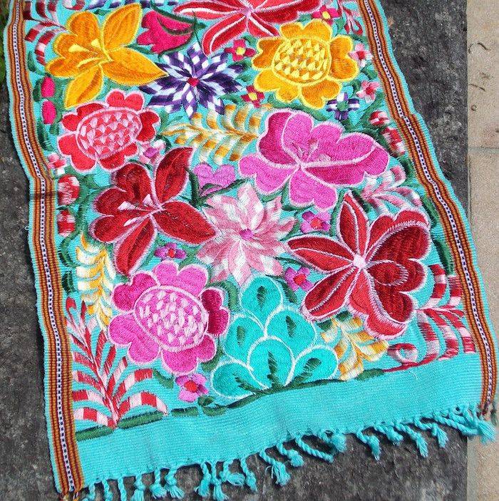 Urban Outfitters Berber Rug: Indeed Decor's Hand-embroidered Guatemalan Aqua Floral