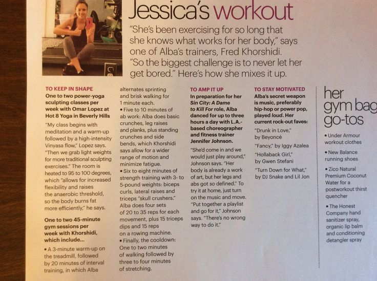 Jessica alba workout.  1-2 power yoga classes per wk, 1-2 weights and hiit, dance for certain roles