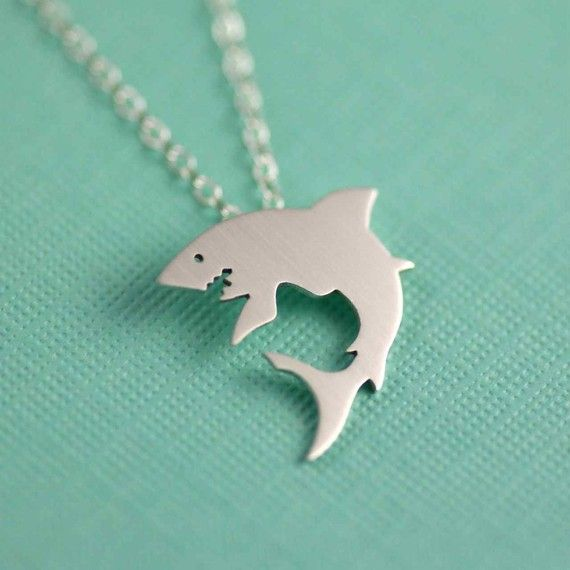 great white shark silhouette necklace in silver - $55.00
