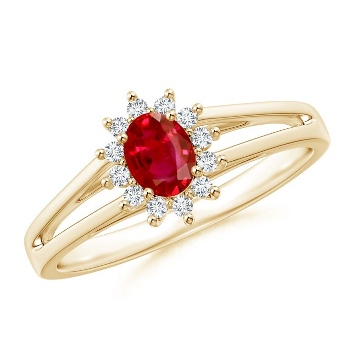 Angara Ruby Ring - Entwined Split Ruby and Diamond Halo Ring (GIA Certified Ruby) OVDZo