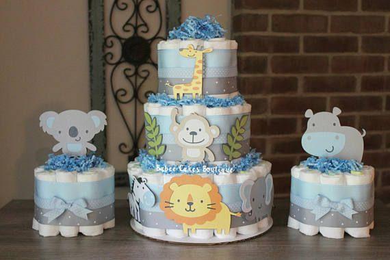 SET OF 3 Jungle Diaper Cake Set  3 Tier 2 Mini Safari Jung