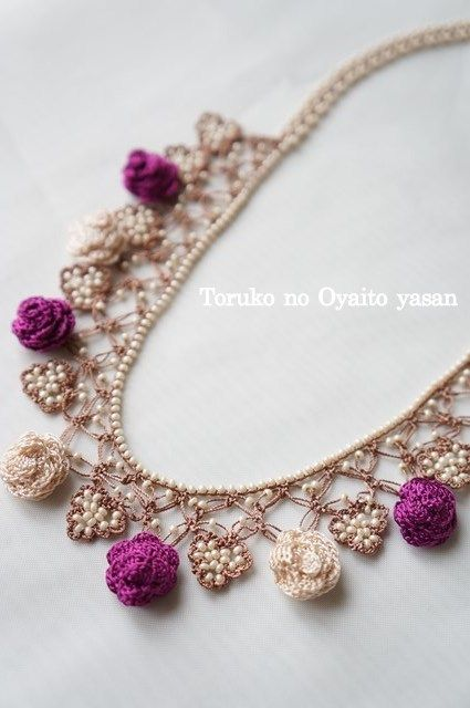 oya crochet necklace...BEAUTIFUL...no pattern but not hard to figure out for more experienced crocheters