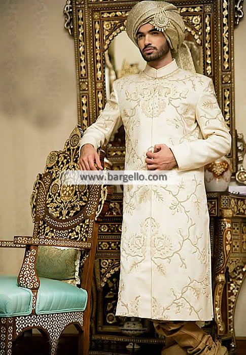 M1207 - Classic Offwhite Sherwani - #Pakistani #Bridal #Lehenga #Banarasi #Jamawar Bridal #Lehnga Rapids Illinois US… #UK #USA #Canada #Australia #Saudi #Arabia #Bahrain #Kuwait #Norway #Sweden #NewZealand #Austria #Switzerland #Germany #Denmark #France #Ireland #Mauritius and #Netherlands