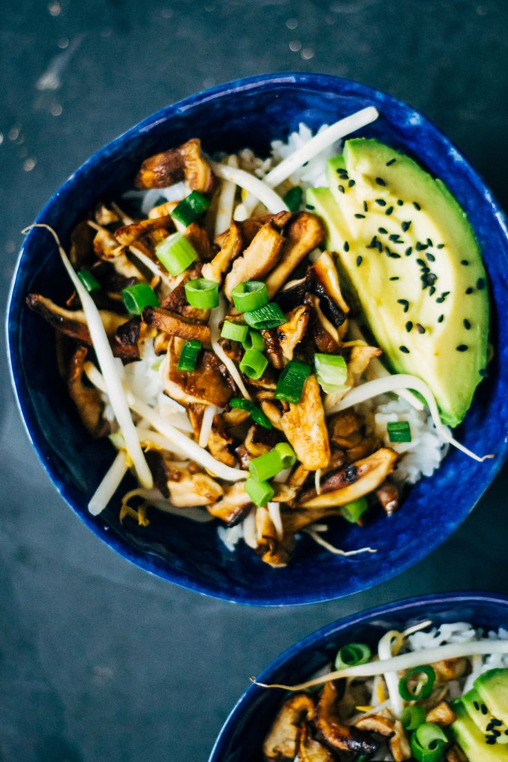 Shiitake Donburi | A vegan, plant based bowl. A great healthy  recipe.