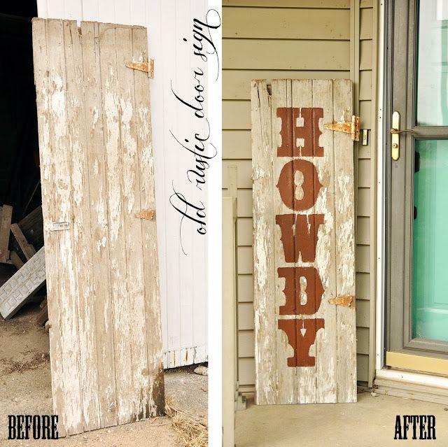 DIY tutorial, old door sign, rustic door sign, old wood sign, barn wood sign, howdy sign, front door sign, wood sign, rustic sign, western sign