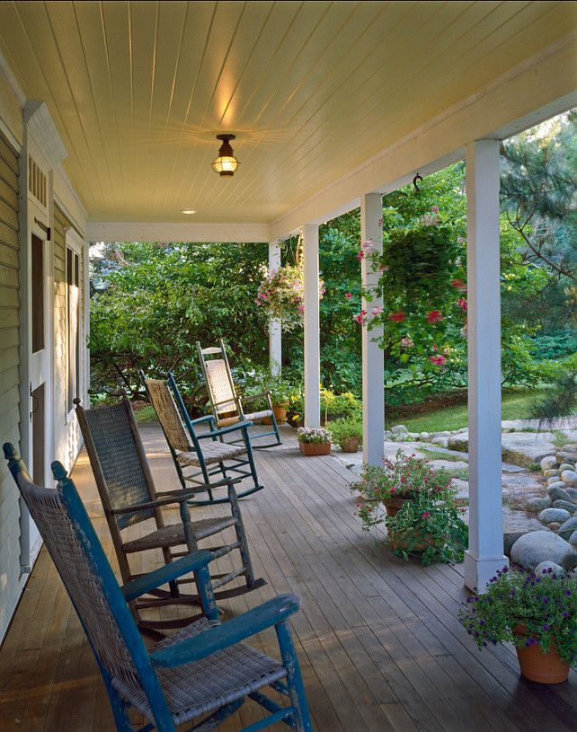 Maine cottage front porch with rocking chairs