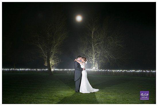Full moon at wedding in Sopley Mill Dorset