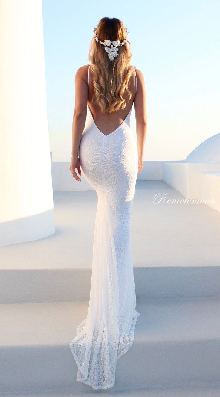 White Lace Backless Mermaid Wedding Dress Halter Low Back Boho Wedding Dresses 2018 Bohemian Lace Wedding Gowns by Remotemoon