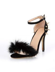 Sexy Black Terry Spikes Ankle Strap Women's Dress Sandals