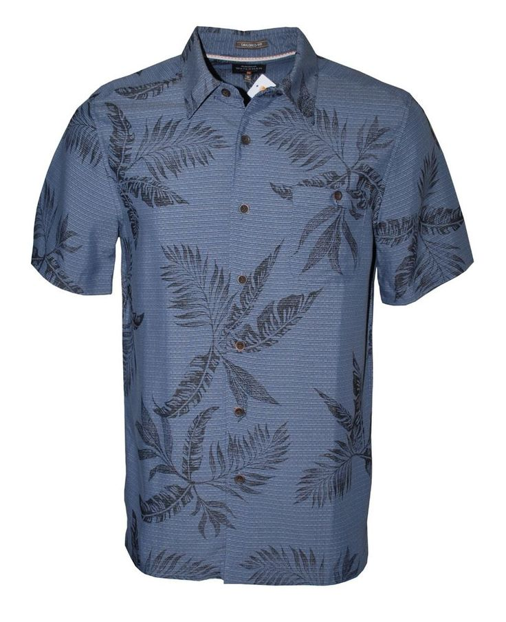 Quiksilver Waterman Men's Short Sleeve Leaf Print Button Up Shirt (Blue, M) #QuickSilver #Hawaiian
