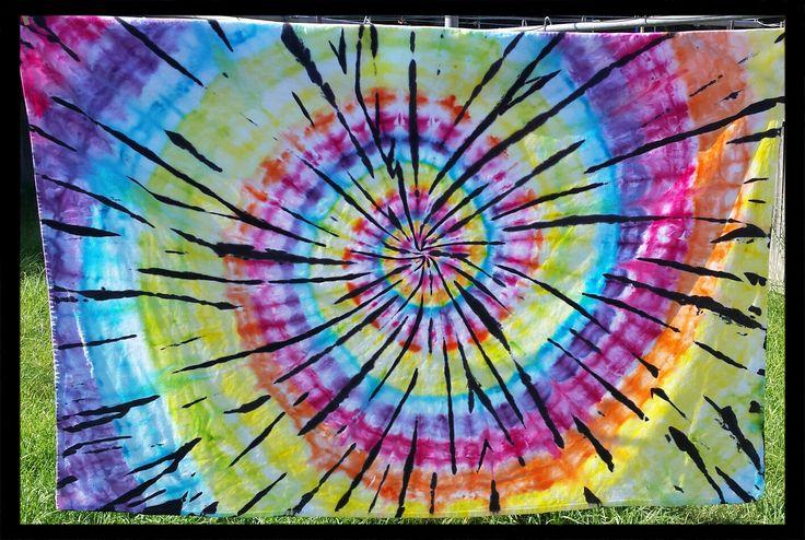 Rainbow hippie tie dye tablecloth by DyingDazeTieDye on Etsy