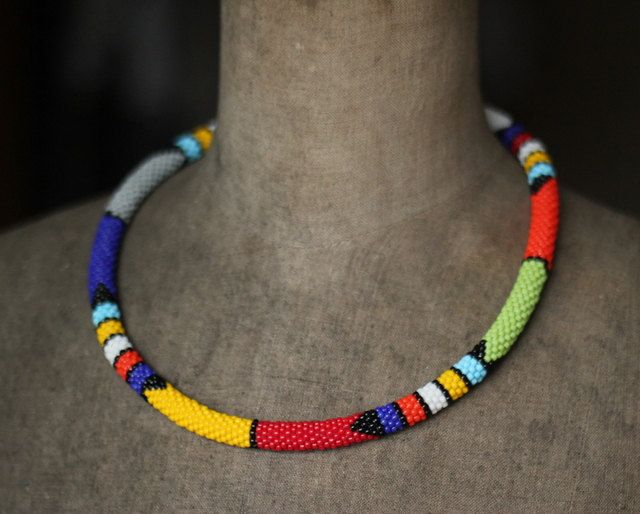 Zulu Necklace, Muticolor African Necklace, African Inspired Necklace, Colorful Necklace, Tribal Necklace, Native Beadwork by HeriniaJewelry on Etsy