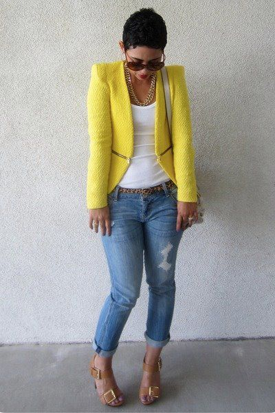 yellow jacket and shoes. nice