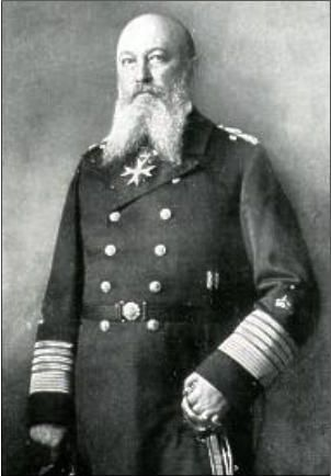 Alfred von Tirpitz (1849-1930) was chiefly responsible, with the significant support of Kaiser Wilhelm II, for the build-up in strength of the German navy, including its submarine fleet, from 1897 until the years immediately prior to the First World War.