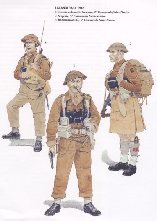 BRITISH ARMY - Commando Raid Saint Nazaire, 1942 - 1. Tenente Colonnello Newman, 2° Commando - 2. Sergente, 5° Commando - 3. Radiomarconista, 3° Commando
