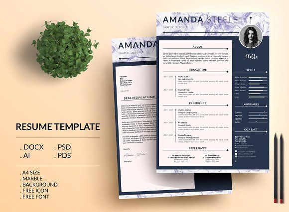 Marble simple CV Resume Template / N by Showy68 Template on @creativemarket