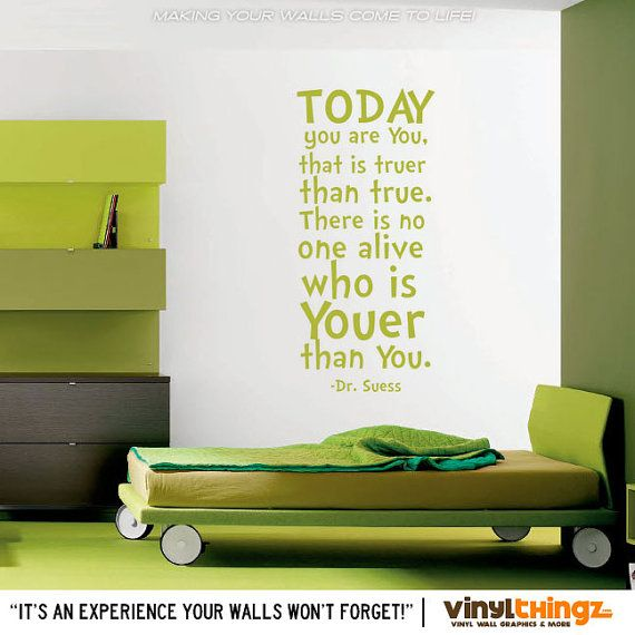 Dr seuss wall decal dr seuss nursery kids bedroom wall decal dr seuss baby shower today you are you that is truer than true 8001