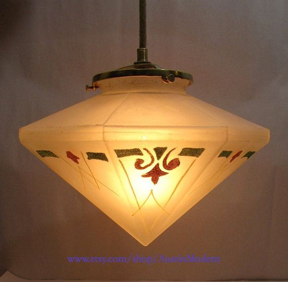 699 best mission style lighting images on pinterest artesanato 1930s vintage octagonal pendant light arts and crafts art deco hanging glass lamp hall kitchen mozeypictures Images