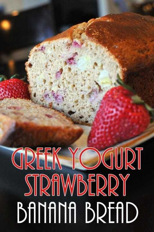 STRAWBERRY BANANA BREADGreekyogurt, Fun Recipe, Yummy Food, Strawberries Bananas Breads, Yogurt Strawberries, Banana Bread, Baking, Favorite Recipe, Greek Yogurt