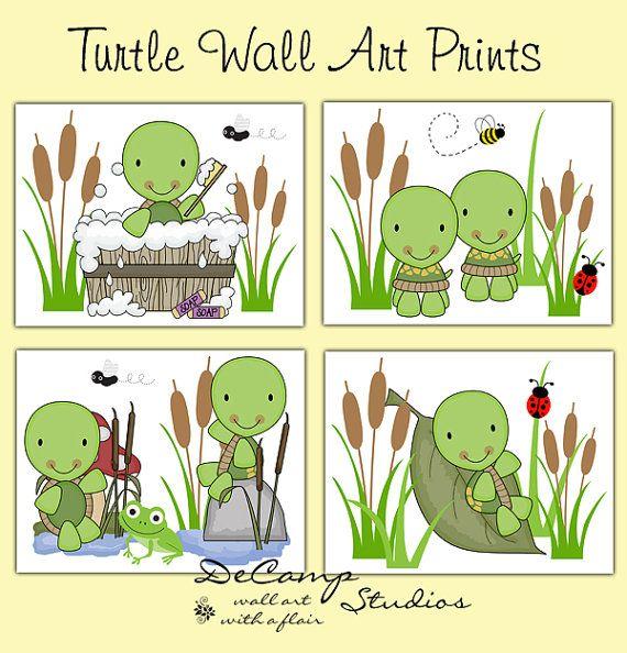 Turtle Wall Art Prints For Pond Sea Life Baby Girl Boy Nursery Bathroom Or Children S Room Decor