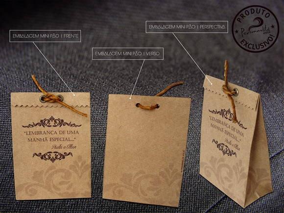 Embalagem rústica produzida em papel kraft, impressão personalizada, aplicação de ilhós, fechamento com sisal.  Indicado para mini trufas, bem casado, pão de mel, amêndoas, pistache, dentre outros.  Personalizamos para qualquer tema e ocasião.  Acima de 100 unidades preço especial R$2,50