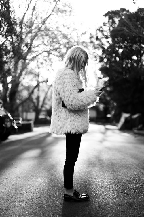 : Faux Fur, Fur Coats, Fur Jackets, Fashion Style, Black And White, Street Style, Fall Outfits, Black Pants, White Fur