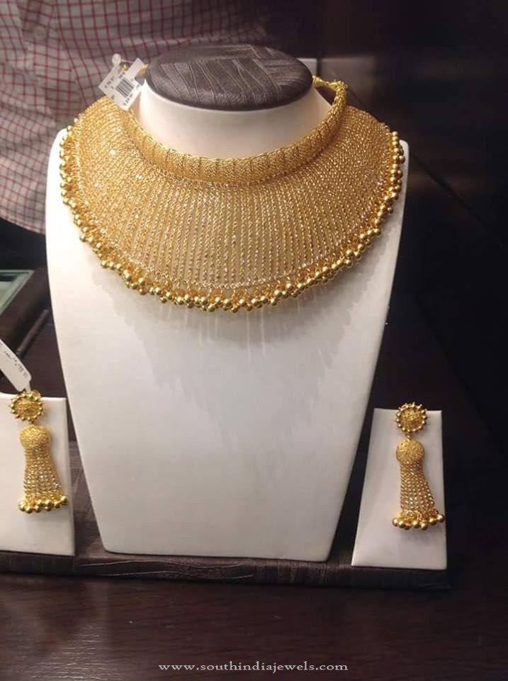 22K Gold Designer Choker and Earrings, Designer Choker Images, Gold Designer Choker Collections.