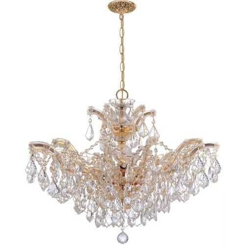 Crystorama Lighting Group 4439-CL-S Maria Theresa 6 Light 27 Wide Chandelier wi (Goldtone Finish), Clear (Glass)