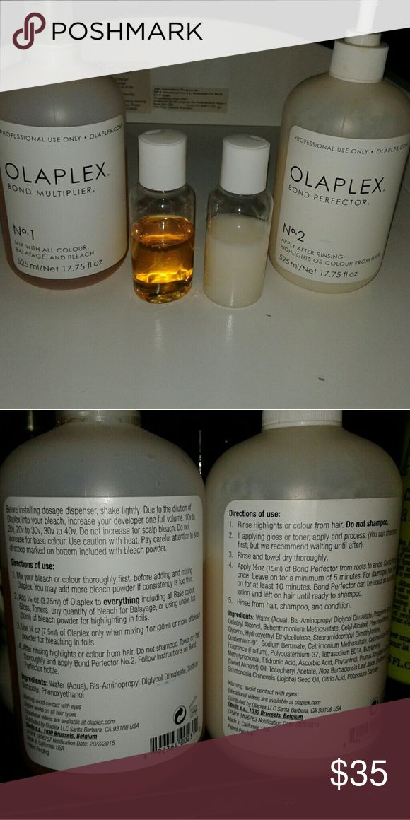 Olaplex samples try before you buy I have two 15ml bottles filled with olaplex 1 and 2 I've also inserted a photo of the directions there's is enough for a few uses (Large bottles are not for sale only small) olaplex Other
