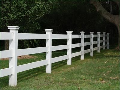 Cellular Vinyl Morgan Fence - Crafted in low maintenance cellular vinyl, this three rail Morgan fence and Westport caps with smooth finish is architecturally pleasing while potentially safeguarding livestock and horses.