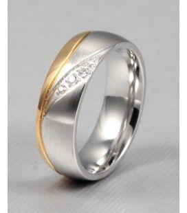 nemesacél gyűrű, Kéttónúsú női karikagyűrű nemesacélból